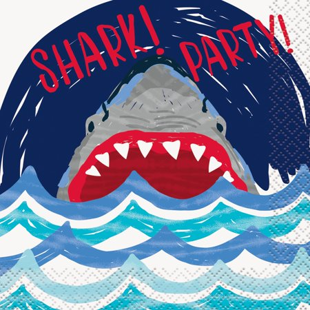 Shark Party Paper Beverage Napkins, 5in, 16ct](Shark Party Plates)
