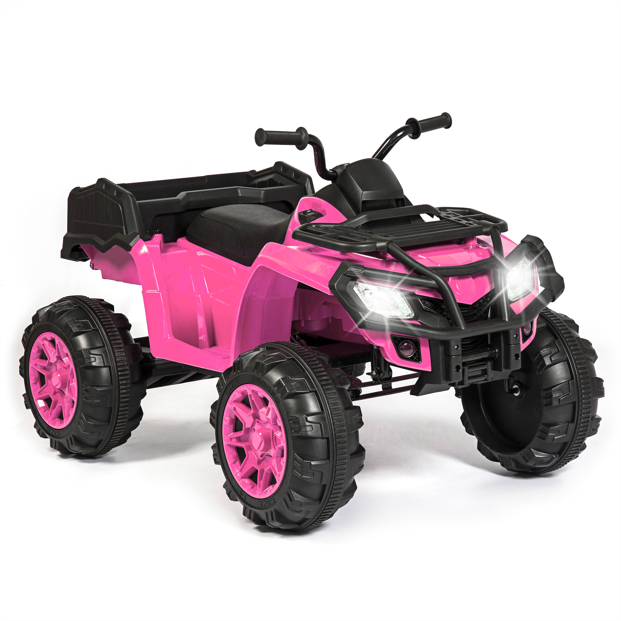 Best Choice Products 12V Kids Powered ATV Quad 4-Wheel Ride-On Car w/ 2 Speeds, Spring Suspension, MP3, Storage - Pink