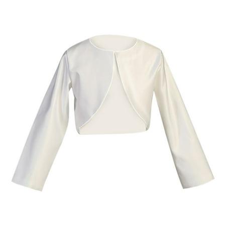 Little Girls White Long Sleeve Satin Special Occasion Bolero 5