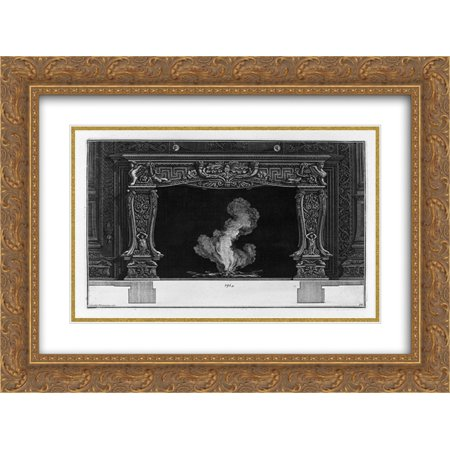 - Giovanni Battista Piranesi 2x Matted 24x20 Gold Ornate Framed Art Print 'Fireplace: on the frieze of acanthus leaf between two horns, dolphins and sphinxes'