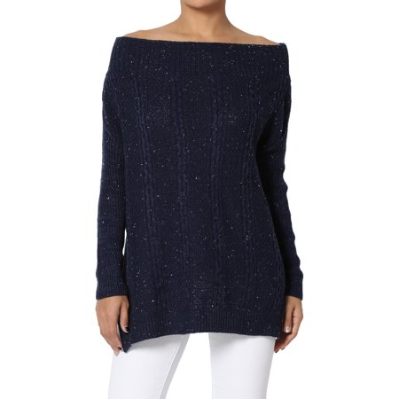 (TheMogan Junior's Off-The-Shoulder Long Sleeve Cable Knit Pullover Sweater Top)