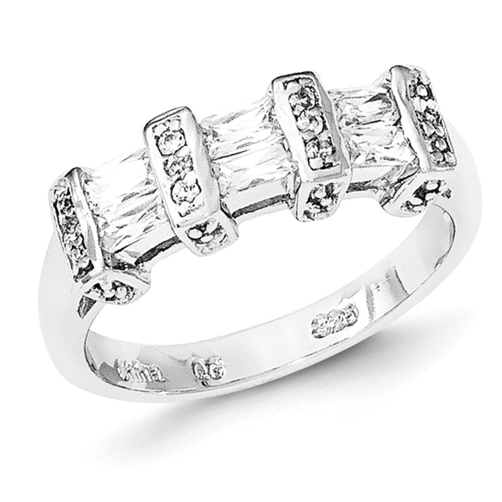 925 Sterling Silver Rhodium Plated Baguette CZ Band Ring Size 8