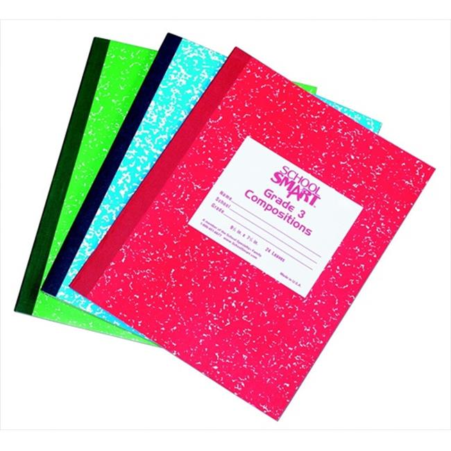 School Smart 085302 Flexible Cover Skip-A-Line Marble Patten Composition Book, Grade 3, 9.75 x 7.75 In. - Red