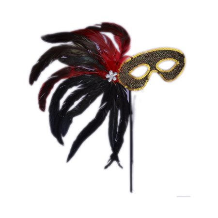 Black And Gold Venetian Costume Carnival Mask With Stick Handle Flower Plume for $<!---->