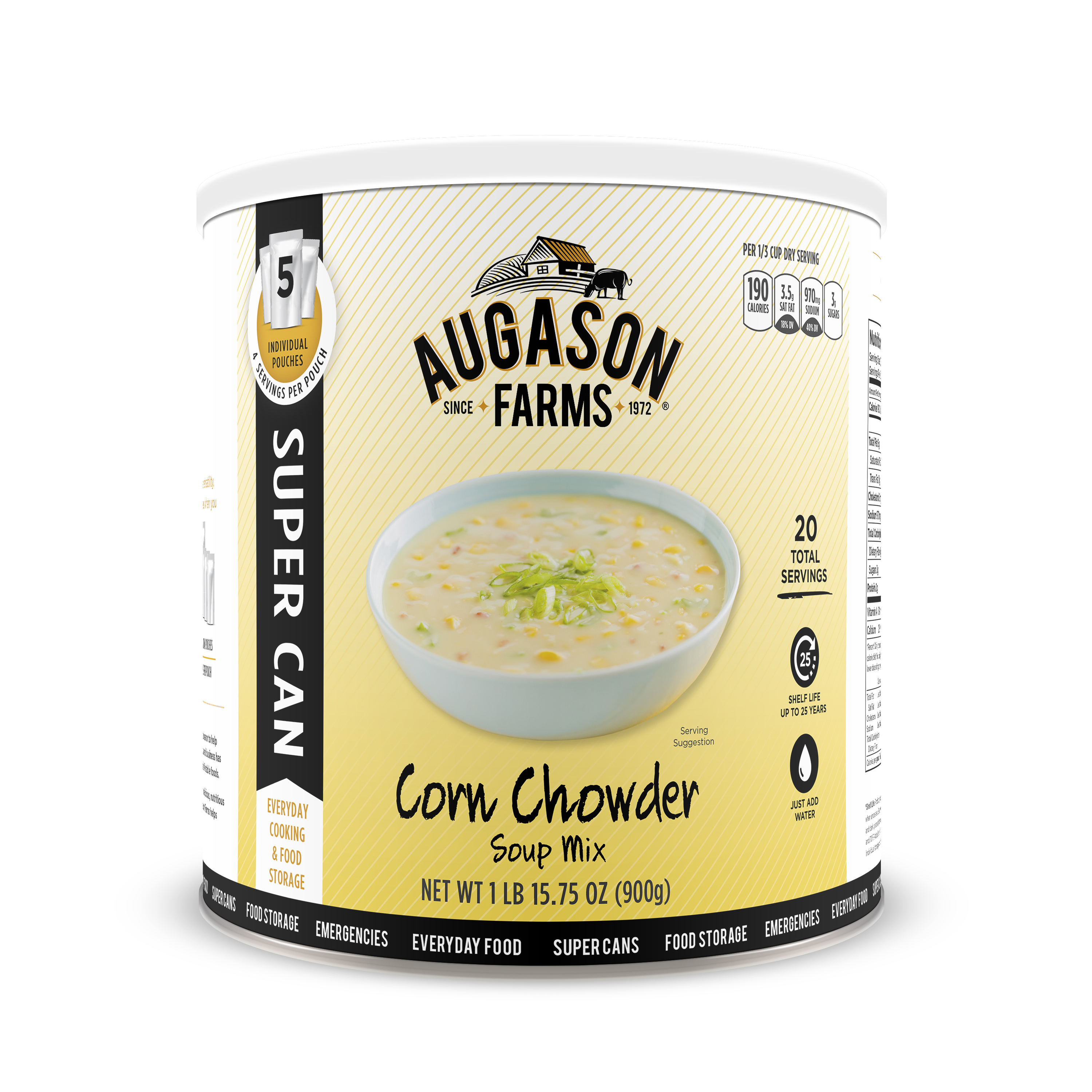 Augason Farms Corn Chowder Soup Mix 1 lb 15. 75 oz No. 10 Super Can
