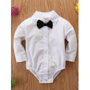 Infant Newborn Baby Boys Outfits Jumpsuit Gentleman Bodysuit Clothes New All Seasons Solid Formal Woven cotton Gentleman