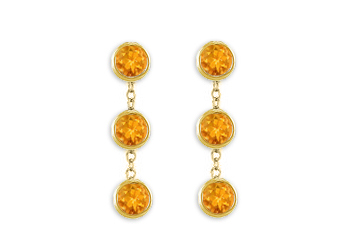 Fashion Citrine Station Earrings 6 Carat Total Gem Weight Bezel Set in 14K Yellow Gold by Love Bright