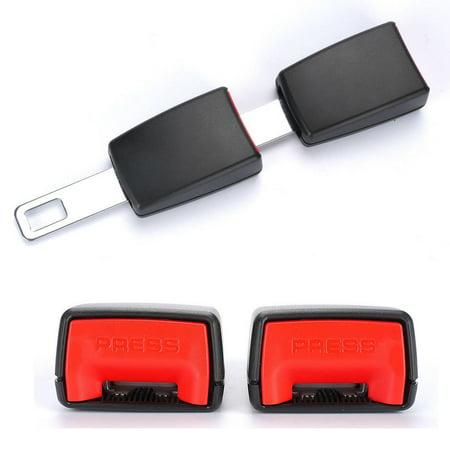 2pcs Black Universal Auto Car Safety Seat Belt Buckle Extension Alarm Extender