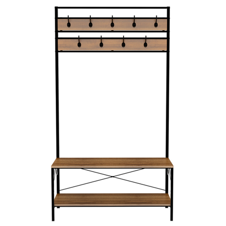 Contemporary Merlot Hall Tree (Entryway Shoe Bench with Coat Rack Hooks Hall Tree Storage Organizer )