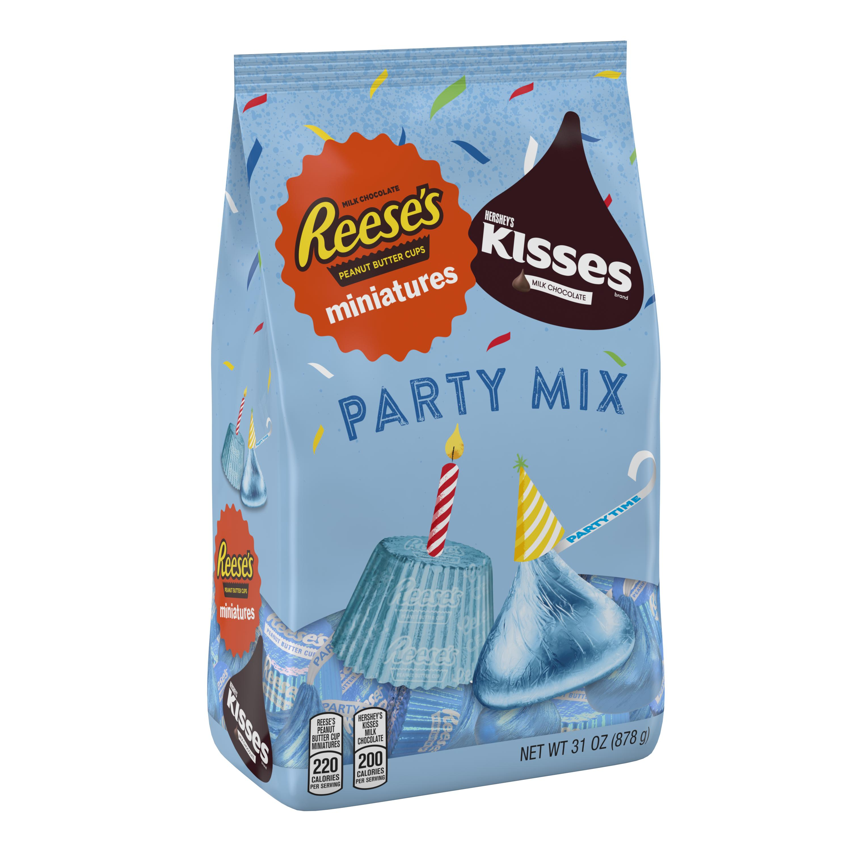 Hershey Party Mix KISSES & REESE'S Miniatures with Light Blue Foils, 31 oz