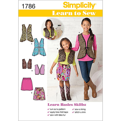 Simplicity Pattern Learn To Sew Child's and Girl's Sportswear, Vest and Skirt, (7, 8 10, 12, 14)