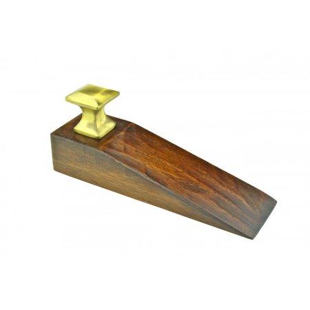 Door Wedge Solid Mango Wood Oil Rubbed Bronze Knob Brown   Renovators Supply