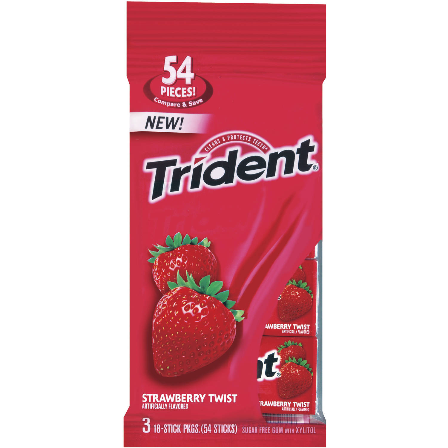 Trident Strawberry Twist Sugar Free Gum, 18 pc, 3 count