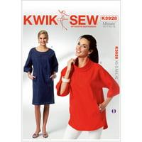 Kwik Sew Pattern Misses' Dolman Sleeve Dress and Top, (XS, S, M, L, XL)