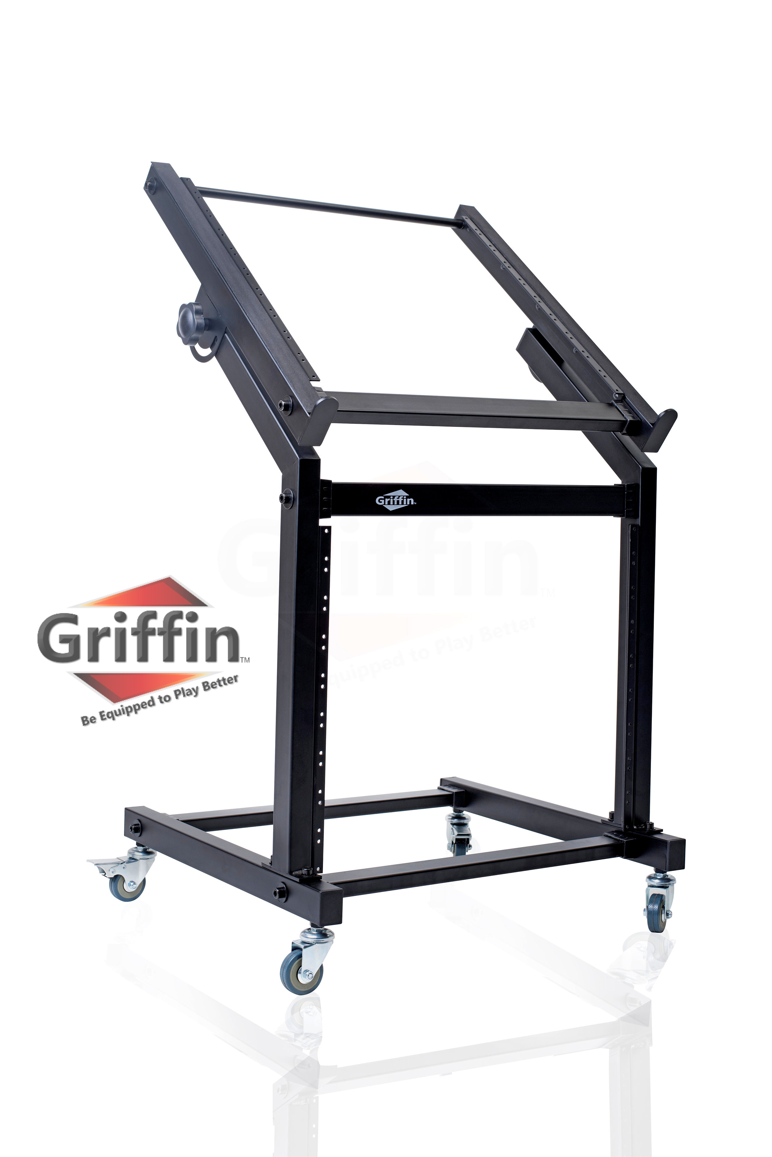 Rack Mount Rolling Stand and Adjustable Top Mixer Platform Mount 19U by Griffin Cart Holder for Music Studio Pro Audio... by Griffin