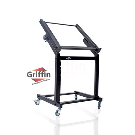 Rack Mount Rolling Stand and Adjustable Top Mixer Platform Mount 19U by Griffin Cart Holder for Music Studio Pro Audio Recording Cabinet Stage Equipment DJ PA Gear Display Case for Amplifiers,