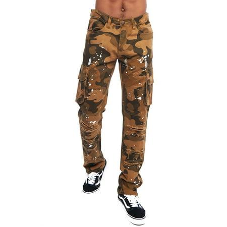 684219c0fd Genx - Mens Hip Hop Distressed Paint Splatter Cargo Straight Pants ...