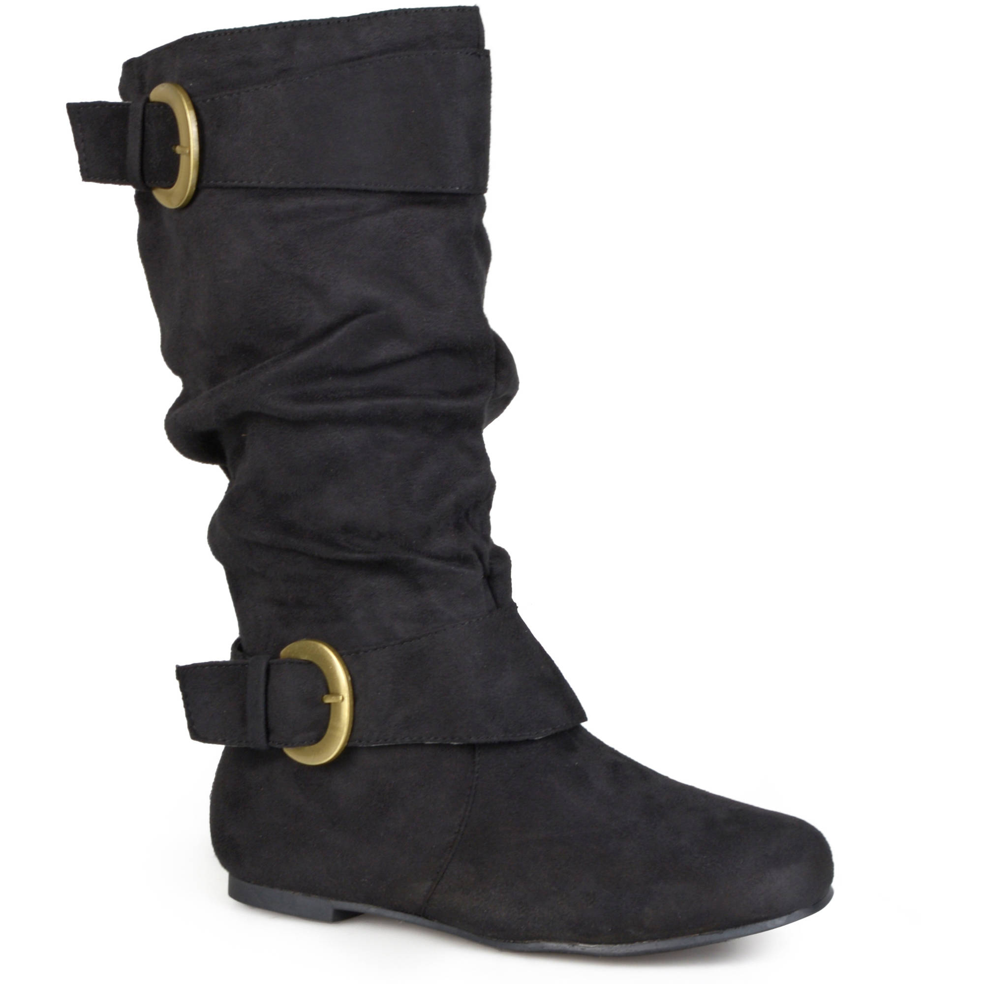 Brinley Co. - Women's Buckle Accent Faux Suede Slouchy Boots