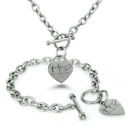 Stainless Steel Faith Hope Love Lifeline Heart Charm Toggle Bracelet & Necklace - Faith Necklace