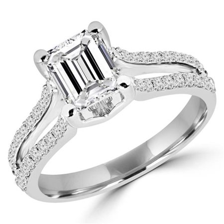 Majesty Diamonds MD160016-P 1.4 CTW Multi Stone Emerald Cut Split Shank Diamond Engagement Ring in 14K White Gold - image 1 of 1