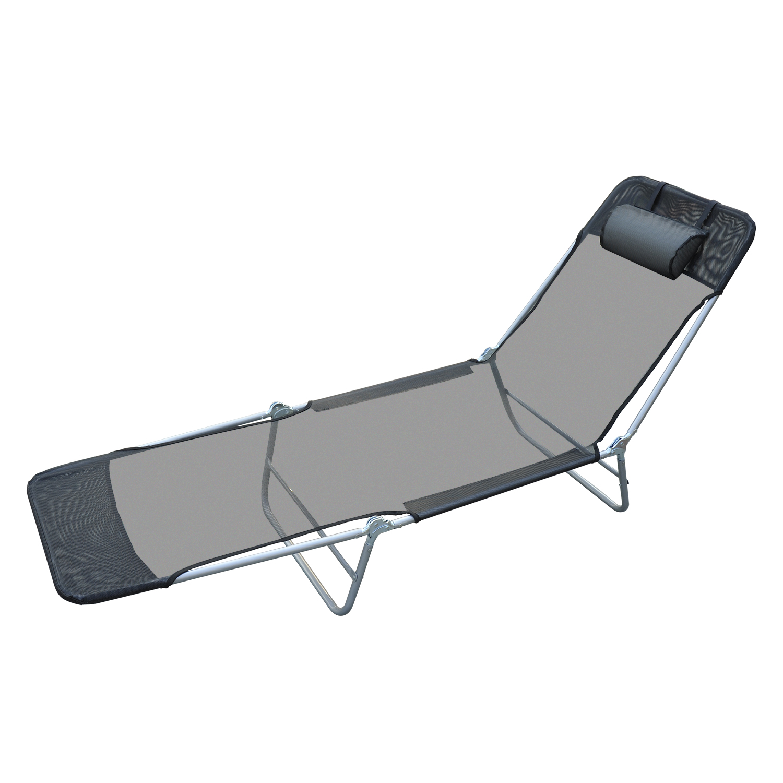 Outsunny Outdoor Folding Chaise Lounge Sun Recliner Chair Beach Patio Lightweight Black Walmart Com Walmart Com