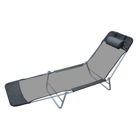 Outsunny Outdoor Folding Chaise Lounge Sun Recliner Chair Beach Patio Lightweight, Black Aluminum Modern Lounge Chairs