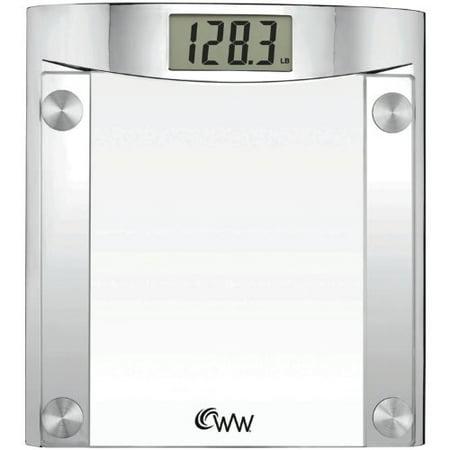 Weight Watchers By Conair Digital Glass Bathroom Scale  400 Lb  Capacity  Elegant Polished Chrome Finish Bath Scale