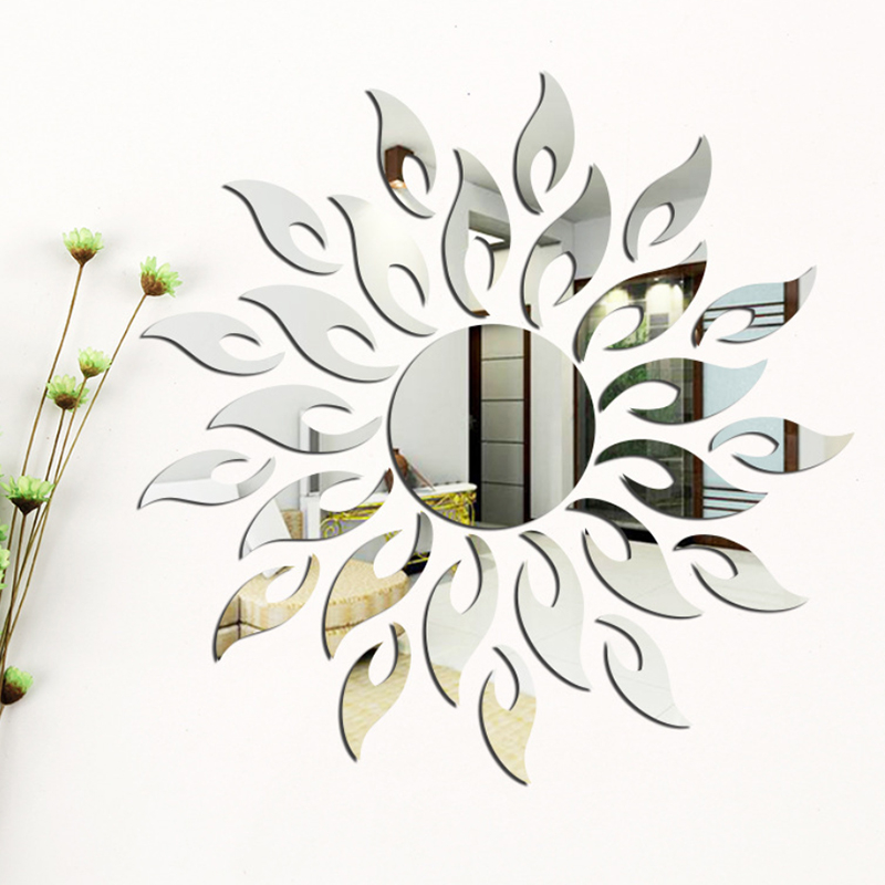 Wall Stickers Luxury 3D Sunflower Mirrors Wall Stickers ...