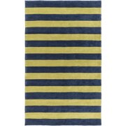 9' x 13' Tiown Lemon Lime Green and Midnight Blue Striped Hand Tufted Area Throw Rug