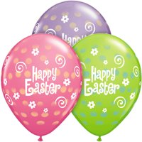 """Happy Easter Spring Dot Flower 11"""" Latex Balloons, Pink Purple Green, 50 CT"""