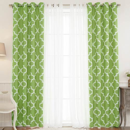 Green Moroccan 52 x 84 In. Lace Room Darkening Window Treatments, Set of Four