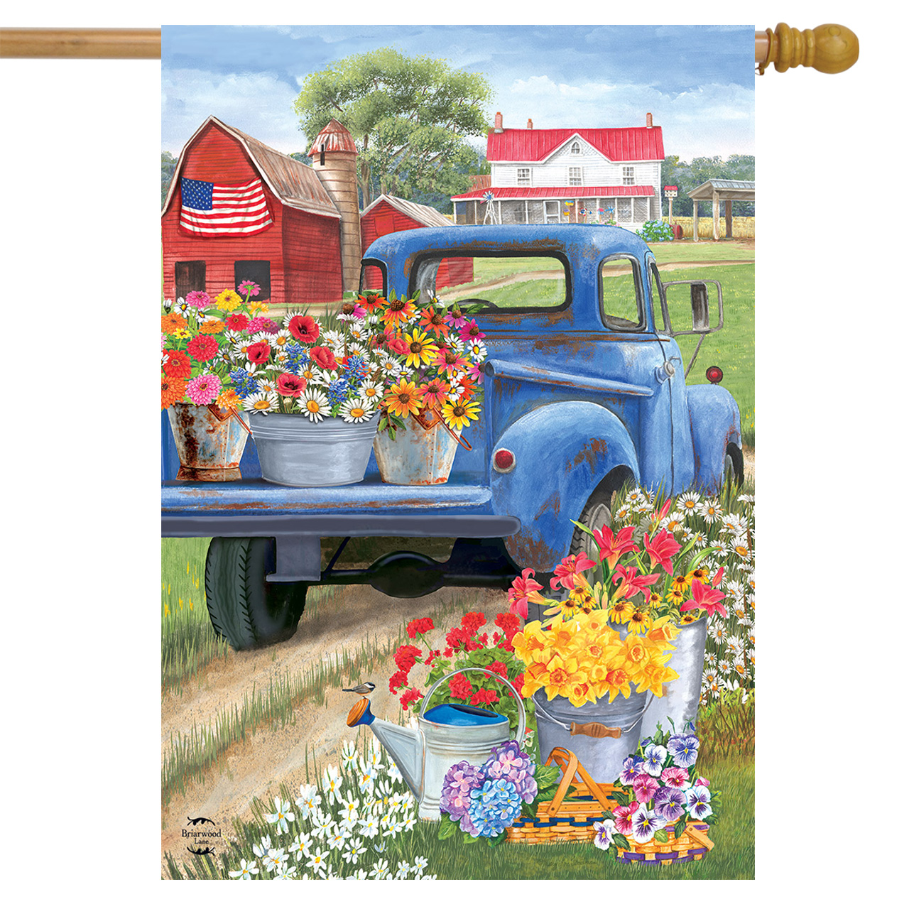 """Day On The Farm Spring House Flag Pick-up Truck Floral 28"""" x 40"""" Briarwood Lane"""