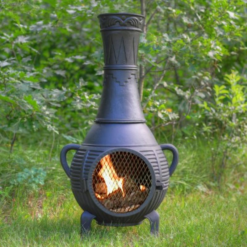 The Blue Rooster Pine Chiminea with Gas in Charcoal by