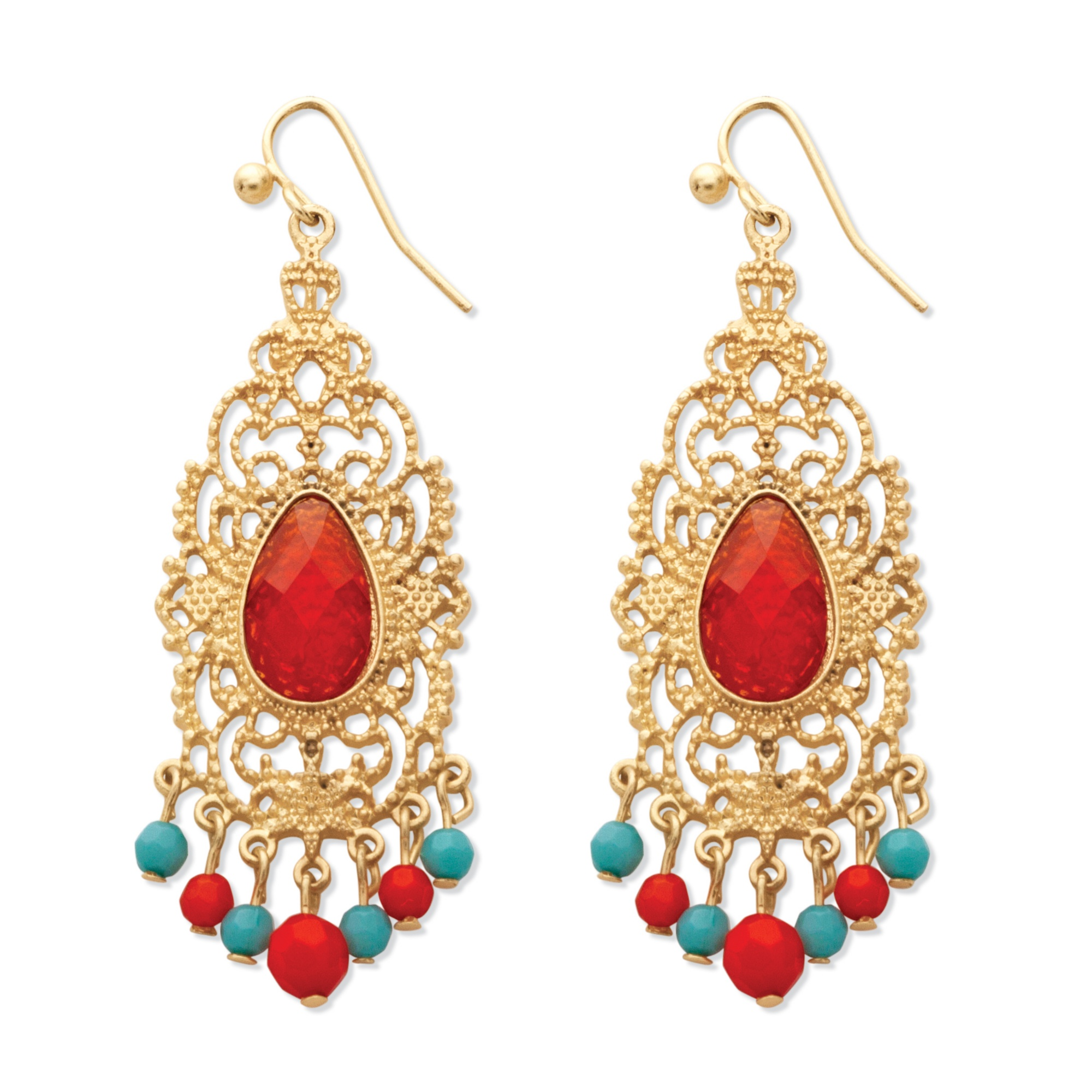 Red Crystal Scrollwork Chandelier Earrings in Yellow Gold Tone