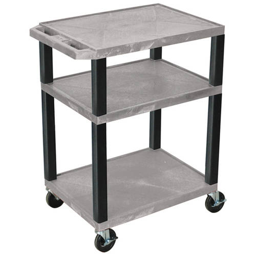 H. Wilson Tuffy 3-Shelf A/V Cart with Electric, Gray Shelves and Black Legs