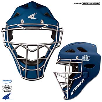 Rubberized Matte Finish Pro-Plus Catcher's Headgear- Youth 6 1 2-7, Navy Blue by Champro