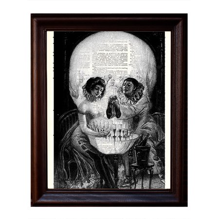 Skull and Clown Illusion - Dictionary Art Print Printed On Authentic Vintage Dictionary Book Page - 8 x