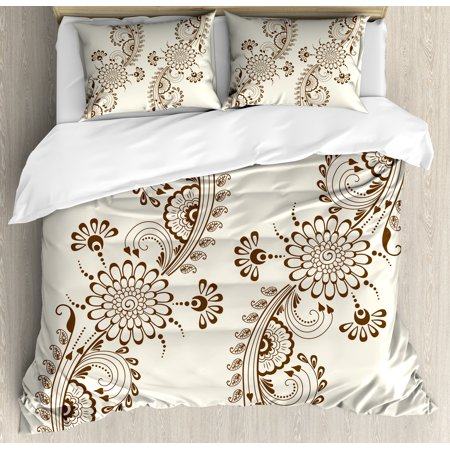 Henna Duvet Cover Set, Abstract Floral Elements South Asian Mehndi Style Oriental Design Soft Color Scheme, Decorative Bedding Set with Pillow Shams, Cream Brown, by - Oriental Bedding