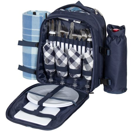 Best Choice Products 4-Person Insulated Picnic Bag Set, Blue ()