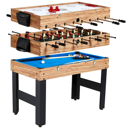 Maple Set Game Table (MD Sports 48 Inch 3-In-1 Combo Game Table, 3 Games with Billiards, Hockey and Foosball, accessories)