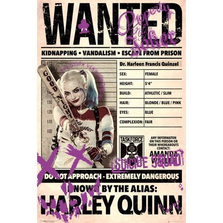 Suicide Squad - Movie Poster / Print (Harley Quinn Wanted - Wrap Sheet) (Size: 24