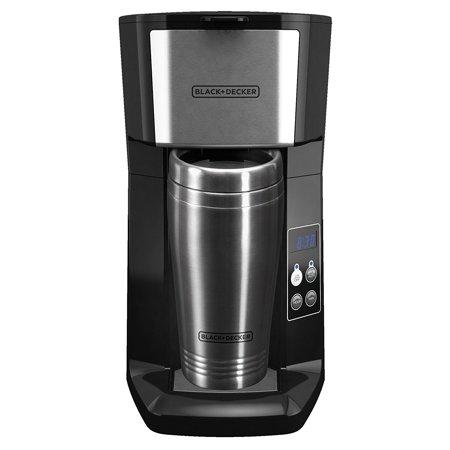 BLACK+DECKER CM625B Programmable Single Serve Coffee Maker with Travel Mug,