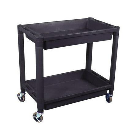 Astro Pneumatic 8330 Heavy Duty Plastic 2-Shelf Utility Cart (Black)