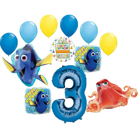 Nemo Birthday Decorations (Finding Dory Party Supplies 3rd Birthday Balloon Bouquet)