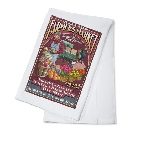 Seattle, Washington - Ballard Farmers Market Vintage Sign - Lantern Press Artwork (100% Cotton Kitchen Towel)