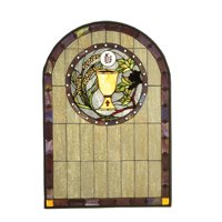 Meyda Tiffany 51129 Solid Brass Tiffany Arched Stained Glass Window Pane From The