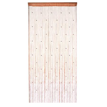Window Door Hanging Bead Decor String Fringe Curtain Valance Brown 100 x 200cm ()