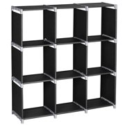 3-Tier 9 Cube Storage Shelves, Cubes Organizer DIY Water-Proof Non-Woven Fabric Closet Cabinet Modular Bookshelf Organizing Storage Shelving for Bedroom Living Room Office, Black, S11021