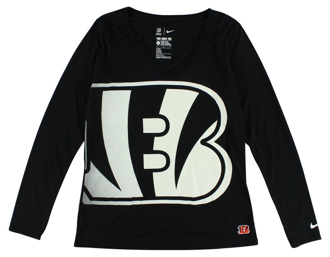 Nike Womens Cincinnati Bengals Long Sleeve Wrap T Shirt Black by