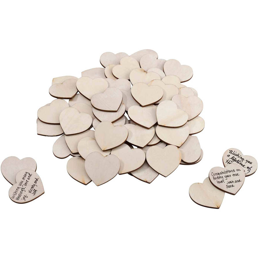 Lillian Rose Wooden Signing Hearts, Set of 48